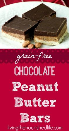 Grain-Free Chocolate Peanut Butter Bars Recipe - The Nourished Life