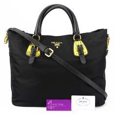 PRADA 2way tote (BN1902) Black Nylon With Leather Gold Hardware Brandnew Condition Ref.code-(KKUC-16)