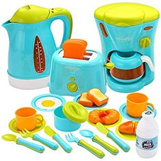 JOYIN Kids Kitchen Pretend Play Toys with Coffee Maker Machine, Kettle, Toaster, Utensils and Cutting Vegetables Cooking Set Play Kitchen Accessories for Toddlers -- Find out more about the great product at the image link. (This is an affiliate link) Toys For Girls, Kids Toys, Toy Kitchen Accessories, Kitchen Sets For Kids, Toy Kitchen Set, Kitchen Playsets, Minnie Mouse Toys, Cooking Toys, Coffee Maker Machine