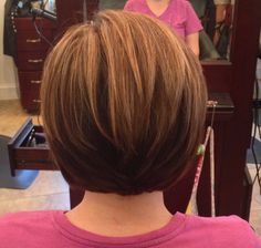 Short stacked bob brown with honey blonde highlights