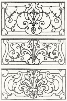 wrought iron balcony decoration.  From Architecture, décoration et ameublement pendant le dix-huitième siècle (Architecture, decoration, and furnitures in the 18th century), by Léon Roger-Milès, Paris, 1900.  (Source: archive.org)