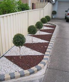 30 The Best Front Yard Landscaping Ideas - Designing a front yard is usually about accessibility and invitation. We spend hardly any time in the front yard as opposed to the backyard, but it is. Front Yard Garden Design, Rock Garden Design, Backyard Garden Design, Fence Design, Backyard Ideas, Fence Ideas, Pool Ideas, Gravel Landscaping, Landscaping With Rocks