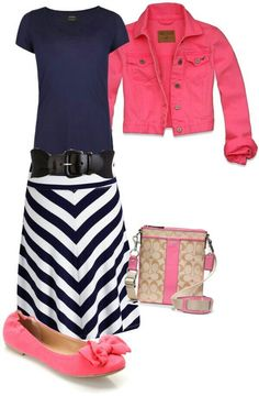 Navy blue and pink outfit