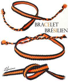 Bracelets brésiliens - TUTOS. Celui -ci : 1,20 m par fil ; 2 noirs, 4 oranges ; 2 noirs. Noeuds endroits pour fils noués de même couleur ; noeud endroit/envers pour fils noués de couleur différente. Les noirs sont toujours prioritaires sur les oranges.