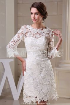 Wholesale and Retail Wonderful Lace Zippered Embellished Wedding Dress - the Best Wedding Dresses Wholesale and Retail Online Store Short Lace Wedding Dress, White Wedding Dresses, Wedding Dress Styles, Bridal Dresses, Dress Lace, Robes D'occasion, Dress Picture, Special Occasion Dresses, Evening Dresses
