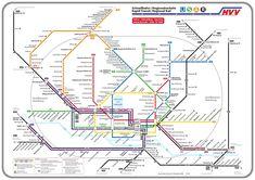 Plans Metros - Plan du m�tro d'Hambourg, Allemagne - Taille Large
