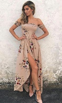 An allover floral print adds ultra-feminine style to this cross wrap high low maxi dress. The Daydream Diva maxi dress features a smocked bodice with short sleeves, an off the shoulder neckline, and a Sexy Maxi Dress, Boho Dress, Dress Skirt, Slit Dress, Backless Maxi Dresses, Romper Dress, Jacket Dress, Short Beach Dresses, Spring Dresses