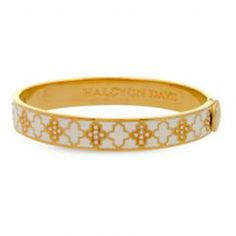 Halcyon Days Agama Cream, Gold, and Clear Hinged Bangle