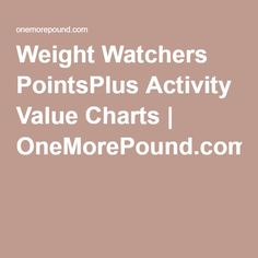 Weight Watchers PointsPlus Activity Value Charts | OneMorePound.com