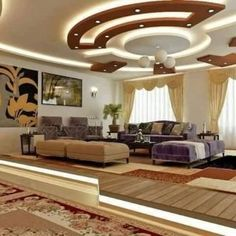 latest gypsum board false ceiling designs and walls with lighting 2019 Simple False Ceiling Design, House Ceiling Design, Ceiling Design Living Room, Bedroom False Ceiling Design, False Ceiling Living Room, Ceiling Decor, Floor Design, Living Room Designs, House Design