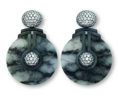 Hemmerle Earrings, silver, white gold, jade and white diamonds