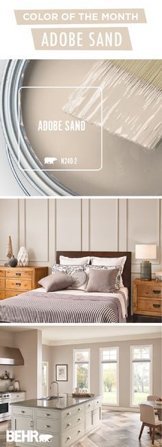 Celebrate summer with a DIY home makeover project. The BEHR® Paint Color of the., Celebrate summer with a DIY home makeover project. The BEHR® Paint Color of the Month, Adobe Sand, is the perfect choice. A warm neutral color that wo. Behr Paint Colors, Kitchen Paint Colors, Bedroom Paint Colors, Interior Paint Colors, Paint Colors For Home, Diy Interior, House Colors, Interior Design, Sand Color Paint
