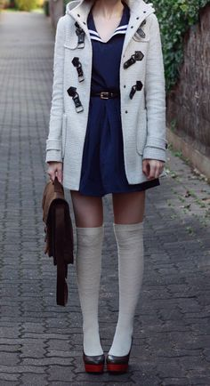 sailor dress + knee hi socks