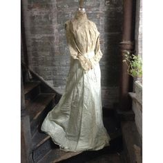 Eau de Nil c. 1900 ghosted Ballgown Belle Epoque- Turn of the... ($150) ❤ liked on Polyvore featuring etsy