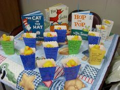 Baby Shower I did for a friend! Gift baskets each had a Dr. Seuss quote.