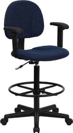 Offices to go to office chair - Pin it :-) Follow us :-)) AzOfficechairs.com is your Office chair Gallery ;) CLICK IMAGE TWICE for Pricing and Info :) SEE A LARGER SELECTION of  office to go office chair at  http://azofficechairs.com/?s=office+to+go+office+chair - office, office chair, home office chair - Flash Furniture BT-659-NVY-ARMS-GG Navy Blue Patterned Fabric Multi-Functional Ergonomic Drafting Stool with Arms « AZofficechairs.com