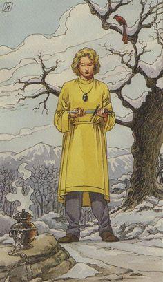 Pagan Tarot - Pajem de Espadas