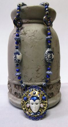 Oriental Style Porcelain & Cloisonne Beaded  SOLD!