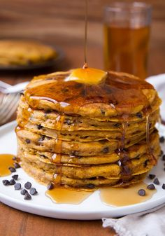 Pumpkin Oat Chocolate Chip Pancakes**** so good! Not super pumpkiny. Perfect for Adam. Great with cinnamon buttermilk syrup.