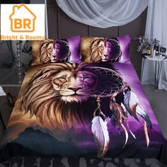 Lion & Dreamcatcher Bedding Set limited edition custom product created by Bright & Roomy. ✓Secured payment system ✓Worldwide shipping ✓Free Returns ✓High Quality ✓Fast Shipping World Wide - Click now! 3d Bedding Sets, Luxury Bedding Sets, Duvet Sets, Duvet Cover Sets, Linen Bedding, Bed Linens, Linen Pillows, Animal Print Bedding, Home Decor Bedding
