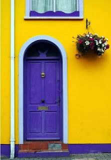beautiful mozaic violet painting interior doors | The Beautiful Home Design and Color Blocking Aesthetics of ...
