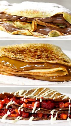 3 Receitas de Crepe ~ Receita These 3 crepe recipes will make your day happier and tastier! Delicious Desserts, Yummy Food, Tasty, Breakfast Recipes, Dessert Recipes, Pancake Recipes, Brunch Recipes, Drink Recipes, Breakfast Smoothies