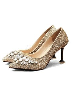 b1158b74223a Women Dress Shoes Sequined Pointed Toe Rhinestones Slip On Pumps Gold High  Heels
