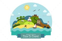 Idyllic landscape of the island with green hills, beach, church, mill, fortress, lighthouse and water caves. Flat style travel con