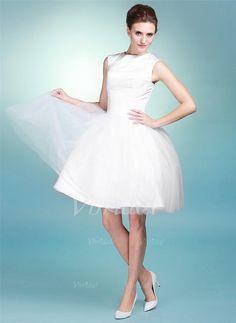 Robes de mariée - $100.25 - Forme Marquise Col rond Longueur genou Satiné Tulle Robe de mariée (0025056886)