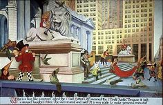 Abram Champanier: Alice and Friends at the 42nd Street Library, 1940 - WPA mural
