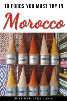 10 Must-try Moroccan food! When you find yourself in Morocco, don't miss trying these foods in Morocco: Tagine, Harira, Msemmen, Beghrir... Includes EASY to follow recipes. #MoroccoFood #Tagine #MoroccanFood #ChickenTagine #MoroccanPancake #OutsideSuburbiaTravel