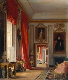 Red Room at Petworth House, West Sussex, England, UK