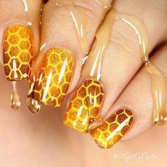 Summer Acrylic Nails Coffin Discover Honeycomb stencils for nails nail stickers nail art nail vinyls Nail Design Glitter, Nails Design, Bee Nails, Nagel Stamping, Nail Stencils, Clear Nails, Beautiful Nail Designs, Creative Nails, Nail Stickers
