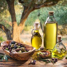 Olives and olive oil in a bottle. Olives and olive oil in a bottle on the backgr , Rustic Bowls, Greek Olives, Olive Oil Bottles, Mediterranean Diet, Health Tips, Healthy Living, Healthy Recipes, Fruit, Bitterness