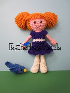 Macie - Little Sister Doll in Millie Dress - Crochet Pattern by Alicia Moore of Featherby & Friends