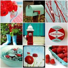 A little red and aqua blue. aqua and red- love this combo, it would be cute in girls bedroom, bathroom, kitchen! A Little Red and Blue, Aqua Red And Teal, Red Turquoise, Turquoise Cottage, Blue Grey, Collages, Pot Pourri, Red Kitchen, Kitchen Floor, Kitchen Redo