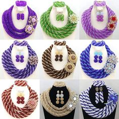 Charming African beads jewelry set 3 rows colorful wedding beads set