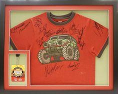 custom framed signed t shirt from a monster truck jam shadowbox design by art