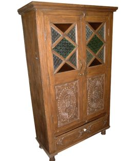Eclectic Antique Armoire by baydeals Indian Furniture, Rustic Furniture, Antique Furniture, Home Furniture, Medieval Furniture, Glass Furniture, Furniture Cleaning, Antique Wood, Antique Chairs