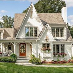 Named the Fairytale Cottage by luxury home builder Gerrard Builders, this perfect white painted-brick home definitely has us dreaming. The beautiful blend of modern and traditional styles create an inviting place that feels timeless. Brick Cottage, Cottage Homes, White Cottage, Tudor Cottage, Modern Cottage, Modern Farmhouse, Country Farmhouse, English Cottage Exterior, French Country
