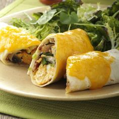 Baked Breakfast Burritos Recipe #Food #MexicanFood TasteofHome.com