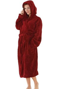 0f649aa478 Del Rossa Women`s Classic Fleece Hooded Bathrobe Robe