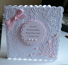 Luxury Hand made Personalised Christening card PINK for baby girl