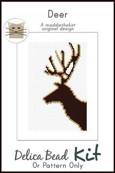 Deer - Simple - Small Panel Peyote Bead Pattern PDF or KIT DIY