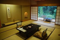Typical room in a Japanese onsen(spa) ryokan(hotel). After dinner, the staff will make up the futons (bedding) on the floor while you are enjoying your bath.