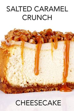 *I need to make this ASAP!* A buttery brown sugar and graham crust sits beneath a smooth and creamy cheesecake that's topped with a sour cream layer, toffee bits and homemade salted caramel sauce. #BiteMeMore #cheesecake #recipes