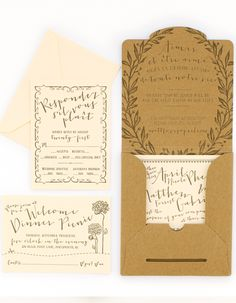 These beautiful wedding invitations from Nichole at Coral Pheasant combine garden parties with French inspiration with such delightfully whimsical results! Nichole also made sure to adhere to the bride's wish to use sustainable materials and practices when producing the wedding invitations. The quirky font and calligraphy by Brown Linen is the perfect finishing touch!