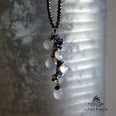 Moonbeams Jewelry by Adity Karande. Handmade Necklace Chalcedony, Apatite, Labradorite. Pyrite, Topaz, Silver, Gold