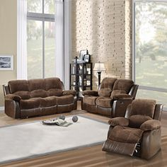 TRIBECCA HOME Coleford Collection Dark Brown Microfiber/ Vinyl 3-piece Living Room Set