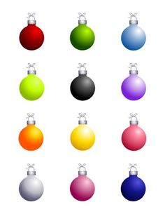 Solid Color Christmas Ornament Edible Cupcake & Cookie Toppers | My Party Helpers | http://mypartyhelpers.com/products/24-solid-color-christmas-ornament-edible-cupcake-toppers